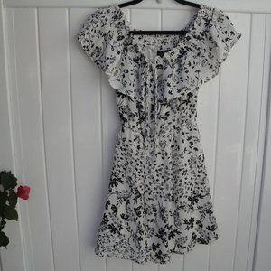 Bohemian Sequin Hearts Black-Cream Print Dress XS